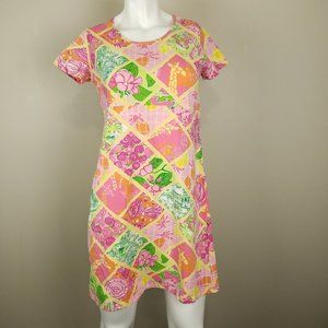 Lilly Pulitzer Multi Worth Patch Dress Med Y2K